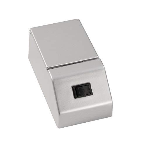 Fackelmann E-box voor spiegelkast, fin/schakelaar en stopcontact met klep/afmetingen (b x h x d): ca. 6,5 x 6 x 12 cm, hoogwaardige E-box voor badkamer en toilet, kleur: zilver, breedte: 6,5 cm.
