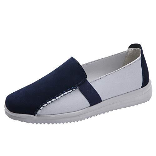 Flache Schuhe Damen Outdoor Lofer Slip-on Sneaker Wildleder Casual Sportschuhe Runing Walking Bequeme Atmungsaktive Turnschuhe, Blau, 36 EU