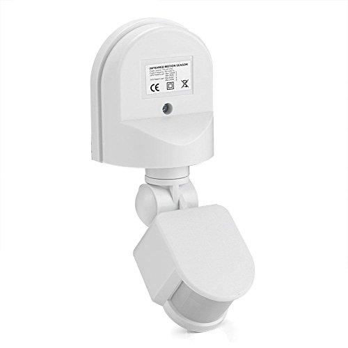 Aeuywe Sensor de Movimiento infrarrojo, 110V-240V Detector de Sensor de Movimiento Corporal PIR Ajustable Interruptor de Bombilla montado en la Pared con Tornillos de instalación(Blanco)