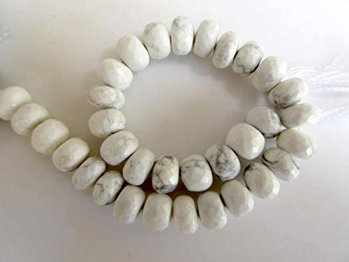specialty shop GemAbyss Beads Gemstone Natural Ranking TOP13 Rondelles Faceted Howlite White