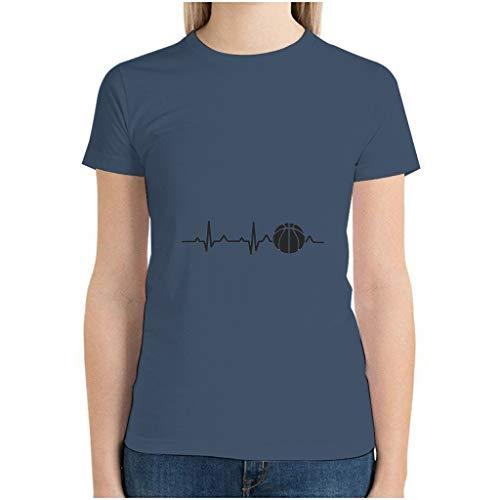 Camiseta de algodón para mujer, camiseta de baloncesto Heartbeat Essential acogedora, cuello redondo, latido del corazón, camisa corta para tiempo libre azul marino L