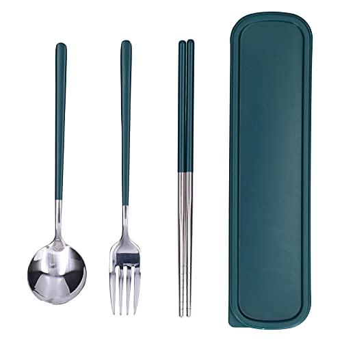 Juego de vajilla, 3 piezas/juego de cubiertos fáciles de limpiar para regalo para bodas, banquetes de inauguración de la casa(Plata verde)