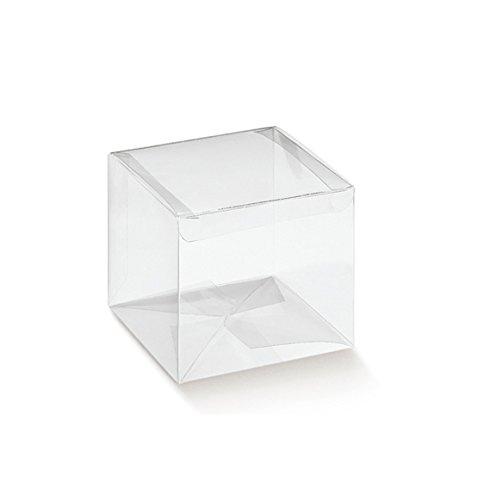 Pianeta Confetti Scatolina Quadrata Pvc Portaconfetti, Set da 50 pezzi, 5 x 5 x 5 cm