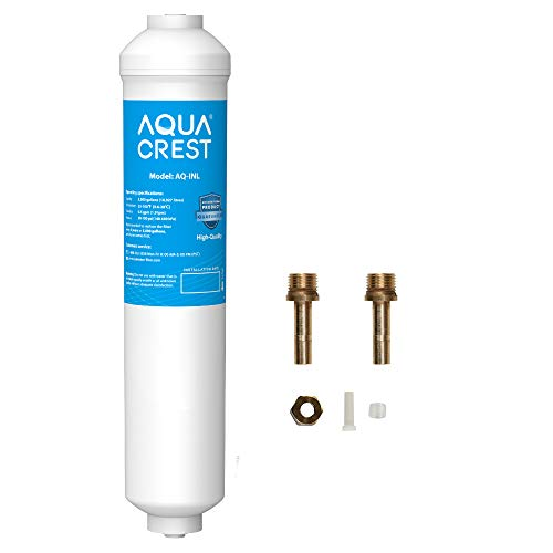 AQUACREST Inline Water Filter for Refrigerator with 1/4-Inch Direct Connect Fittings, 5 Years High Capacity, Idea for Ice Maker, Refrigerator, Under Sink Reverse Osmosis System