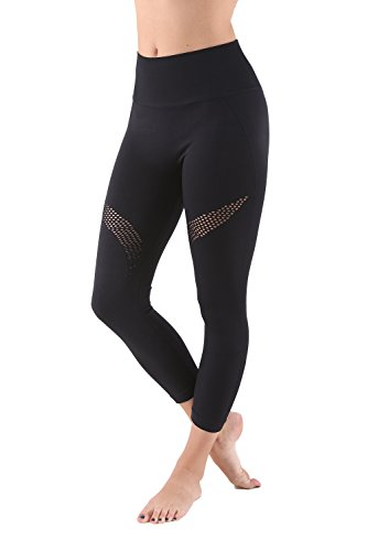Aekonami AEKO Mesh Compression Workout Pants New 2019 Moisture Wicking Fitness Leggings for Women (L - USA 6-8, Black - 35)