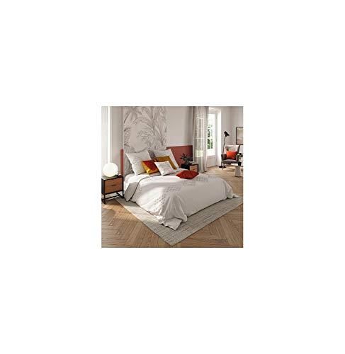 Atmosphera - Juego de cama para cama de matrimonio, 260 x 240 cm, funda de edredón y 2 fundas de almohada de algodón lavado, color marfil y tejido