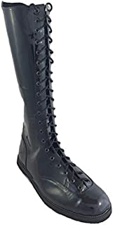 Wrestling Patent Black Leather Boots for Men with Black Patent Wing Tips 14in Heigh