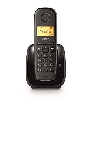 Gigaset A280 Telefono Portatile con Vivavoce Alta Qualità, Display illuminato, 1.5 pollici, Lista Chiamate Fatte, Ricevute e Perse, Nero [Versione Italiana]
