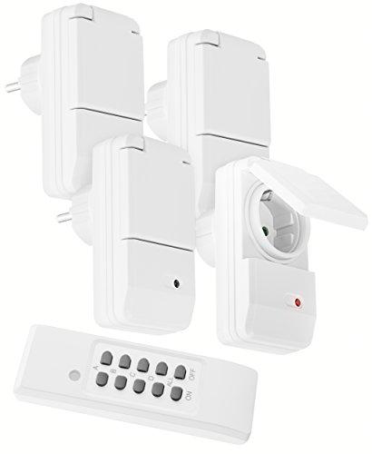 mumbi 24859 Funksteckdosen-Set Outdoor (spritzwassergeschützt, IP44), 4x Funksteckdose + 1x Fernbedienung, 1100 Watt, weiß