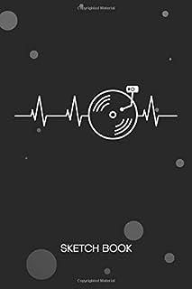 SKETCHBOOK: Deejay Notebook Journal BLANK Paper A5 6x9 120 Pages - DJ Heartbeat Planner Disc Jockey Diary Music Club - Mus...