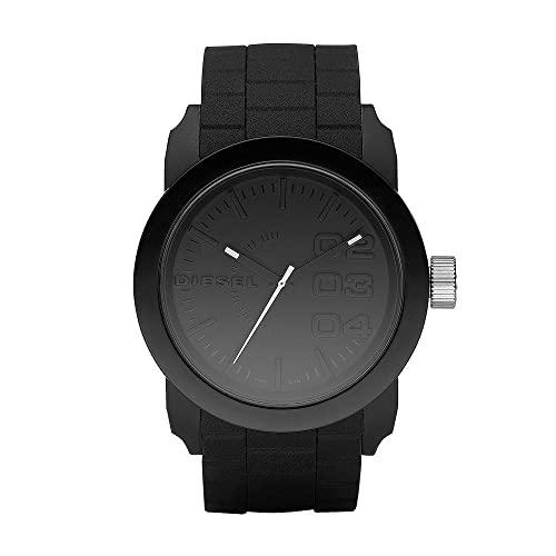 Diesel Men's 52mm Double Down Quartz Lightweight Nylon and Silicone Three-Hand Watch, Color: Black (Model: DZ1437)