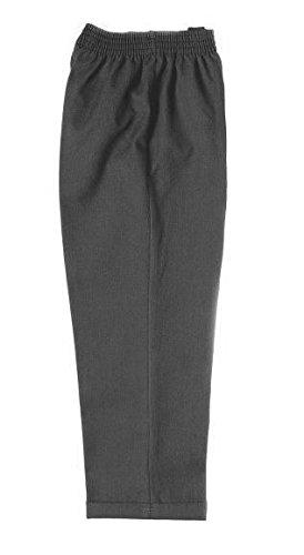 Zeco - Pantalón escolar para niño, cintura elástica, todos los tamaños, color negro, gris, azul marino (edad 11/12, gris)