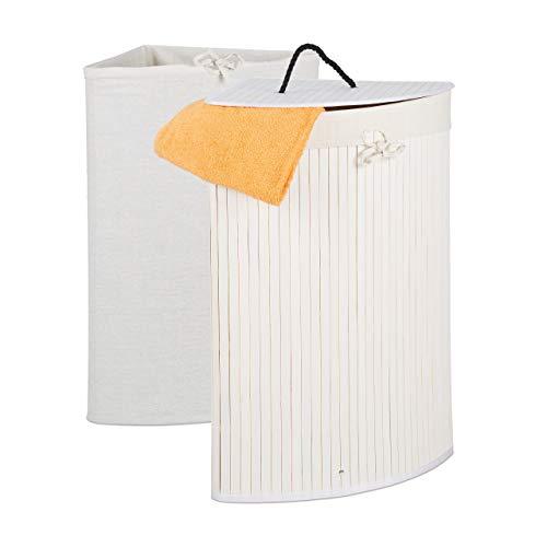 Relaxdays Eckwäschekorb Bambus, Faltbarer Wäschesammler mit Deckel, 60 Liter, 2 Wäschesäcke, HBT 66 x 49,5 x 37 cm, weiß, 1 Stück