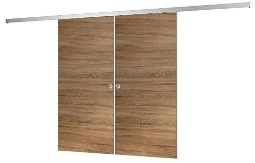 inova Doppel Holz-Schiebetür 2-Flügelig 1760 x 2035 mm Wildeiche Alu Komplettset mit Lauf-Schiene und Griffmuschel