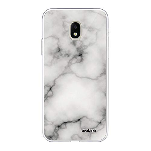 Evetane Coque Compatible avec Samsung Galaxy J3 2017 Souple Silicone Solide Ultra Resistant Fine Protection Housse Etui Transparente Marbre Blanc Motif Tendance.