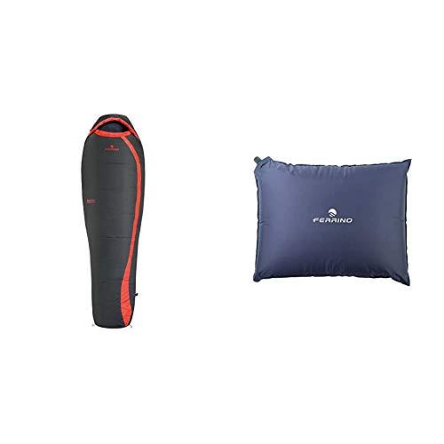 Ferrino Nightec, Sacco a pelo Uomo, Grigio, 600 Lite Pro & Cuscino Gonfiabile Goffrato Unisex Blu, 40x30x7 cm