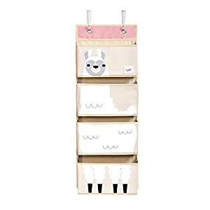 3 Sprouts Hanging Wall Organizer- Storage for Nursery and Changing Tables, Llama