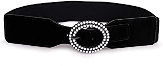 MYCHOMEUU New Pearl Buckle Suede Women's Elastic Waistband Elegant Wild Skirt Belt (Color : Black, Size : 60-80cm)