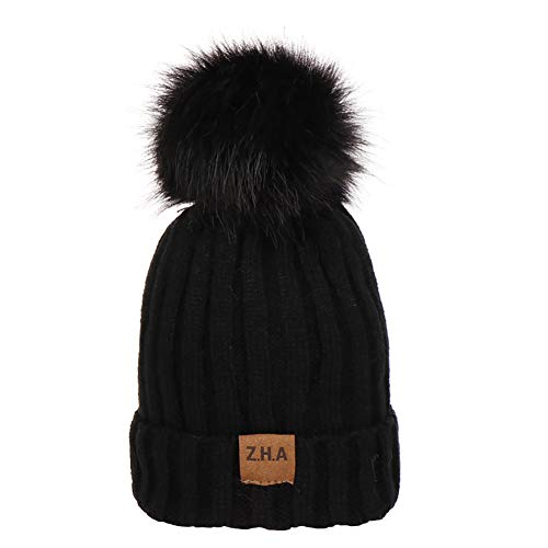 Verlike Wintermütze mit Fleece-Futter, Bommel, gestrickt, für Babys und Kleinkinder Einheitsgröße Schwarz