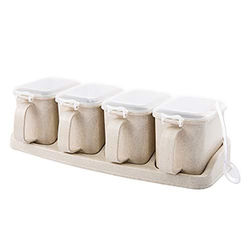 rongweiwang 4 Grid Würzen Box Set Gewürz Salz Zucker Jars Pfeffer Menage Vorratsbehälter mit kleinen Löffel