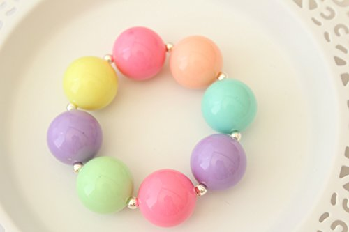 Pastel Easter Gift Colorful Chunky Bracelet for Small Babies - 5""