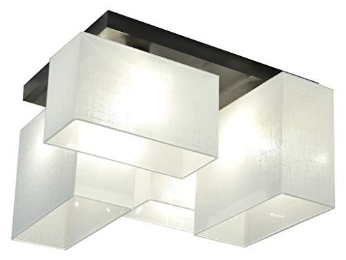 Deckenlampe - HausLeuchten JLS44WEWED - 4 Varianten, Deckenleuchte, Leuchte, Lampe, 4-flammig, Massivholz (WEIß/WEIß)