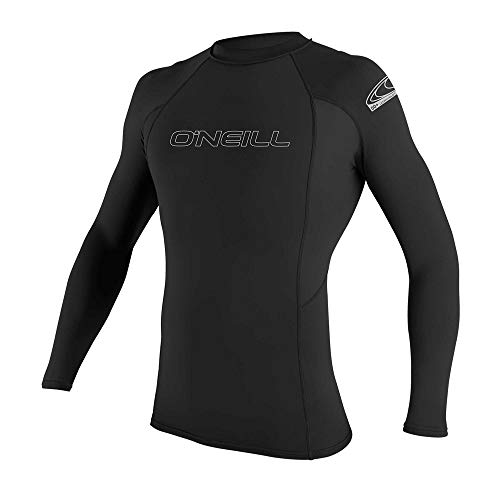 O'Neill Men's Basic Skins UPF 50+ Long Sleeve Rash Guard, Black, M