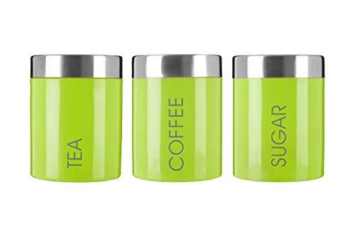 Premier Housewares Liberty Behlter für Tee, Kaffee und Zucker Lindgrün, Emaille, Grün, 9x9x13