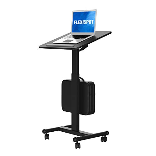 Flexispot MT3 Mobile Standing Desk Sit-Stand Pneumatic Adjustable Height Laptop Desk Gas Spring Riser Rolling Computer Cart Movable Computer Workstation Overbed Table for School Office Home Medical