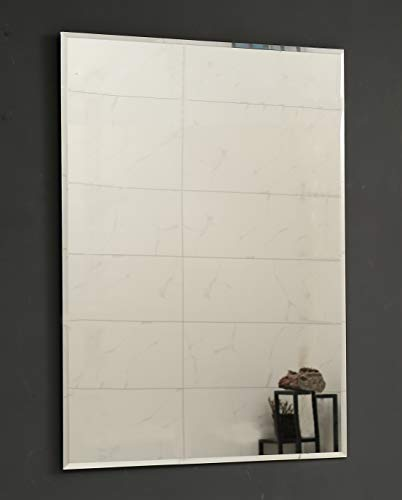 Large Single Rectangular Beveled Wall Mirror | Silver Backed Rectangle Mirrored Glass| -