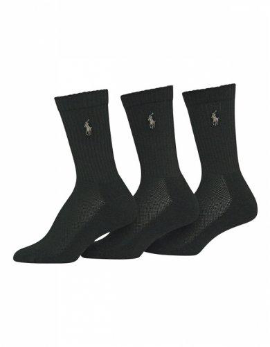 Ralph Lauren Cushion Foot Mesh Crew 3 Pair Pack (7310) (9-11, Black)