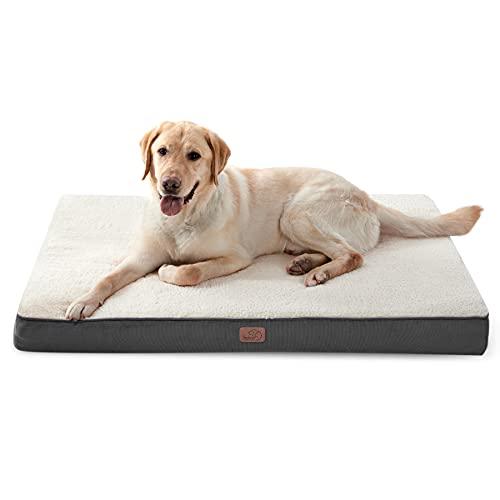 Bedsure Cama Perro Extra Grande Ortopédica - Colchón Perro Lavable Verano XL, Desenfundable con Espuma De Caja De Huevos, 112x81x7.6 cm