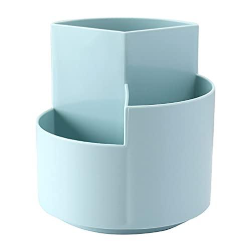 ERUYN Estuche para bolígrafo Giratorio 360 Multiusos, 3 Compartimentos Separados en Diferentes Alturas, Soporte para Organizador de papelería de Escritorio, Azul