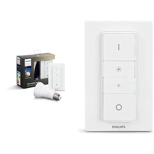 Philips Hue Bombilla Inteligente LED E27 con Mando Inalámbrico, con Bluetooth, Luz Blanca Cálida, Compatible con Alexa y Google Home + Interruptor / Mando Inteligente Inalámbrico, Portátil