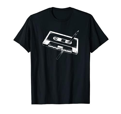 Cinta de cassette con lápiz | Regalo retro vintage de los años 80 Camiseta