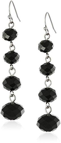 1928 Jewelry Classic Black Graduated Beaded Linear Drop Earrings