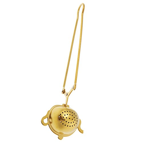 Nobranded Golden Color Tea Strainers with Holder Chain Golden Tea Infuser Keeps Drink Free From Odor 1 Piece