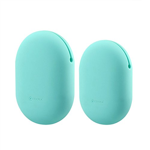 Geekria Earbuds Silicone Case for Sony XB80BS, XB50, EX100AP, Phaiser BHS-730, Jabra Sport Pace, Earbud Protection Squeeze Pouch/Pocket Soft Earphone Storage Bag (Mint Green, M+S, 2Packs)