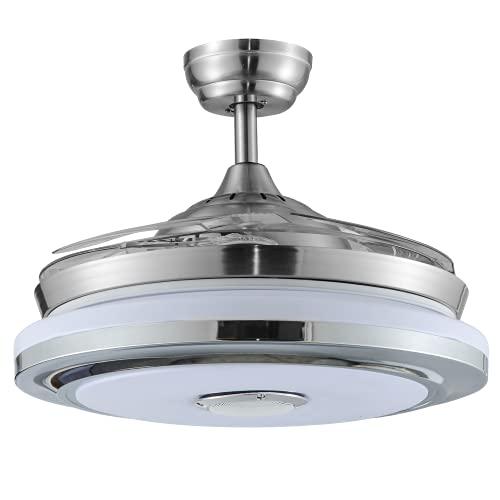 BEL AIR HOME - Ventilatore da soffitto serie SOLANO con motore DC e luce LED integrata 36 W RGB con pale pieghevoli, telecomando incluso e controllo tramite app mobile