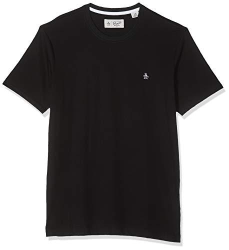 ORIGINAL PENGUIN Embroidered Logo Camiseta, Negro (True Black), M para Hombre