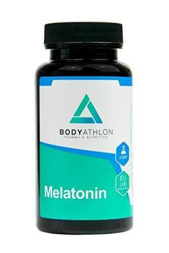 """Bodyathlon– Melatonina pura comprimidos– Conciliación rápida del sueño– Ayuda con el insomnio y los trastornos del sueño- Efecto rápido y duradero – Sin """"efecto resaca""""- Sabor limón- Producto Vegano"""