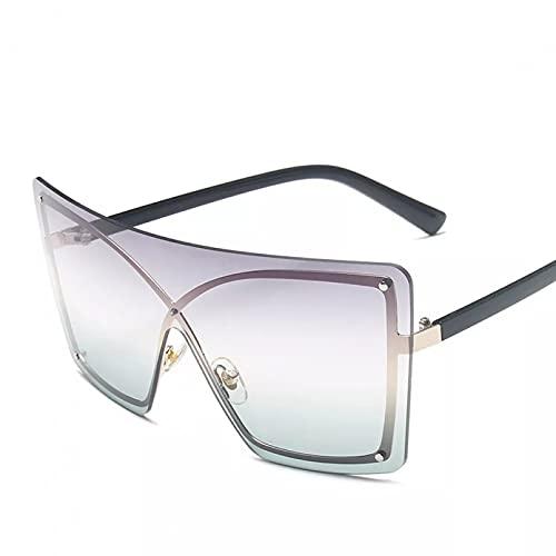 TYOLOMZ Gafas de Sol rectangulares con gradiente, Gafas graduadas sin Montura de Metal con Ojos de Gato siamés de Gran tamaño para Hombres y Mujeres