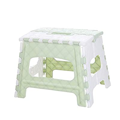 Fan-Ling Plastic Multi Purpose Folding Step Stool,Bathroom Children Small Bench,Portable Adult Outdoor Fishing Stool,Home Train Outdoor Storage Foldable (Green)