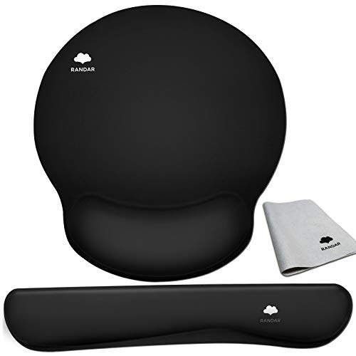 RANDAR Mouse Pad with Wrist Support Keyboard Wrist Rest Set Ergonomic Design Large Mouse Pad with Anti-Slip Rubber Base Premium-Textured Pain Relief for Computer Laptop Mac (Black)