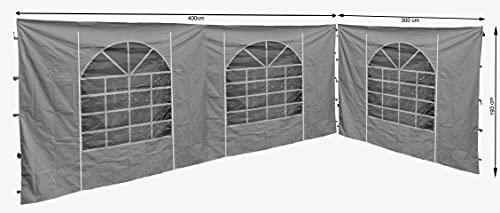 QUICK STAR 2 Seitenteile mit PVC Fenster 300x193cm / 400x193cm für Pavillon Sahara 3x4m Seitenwand GRAU