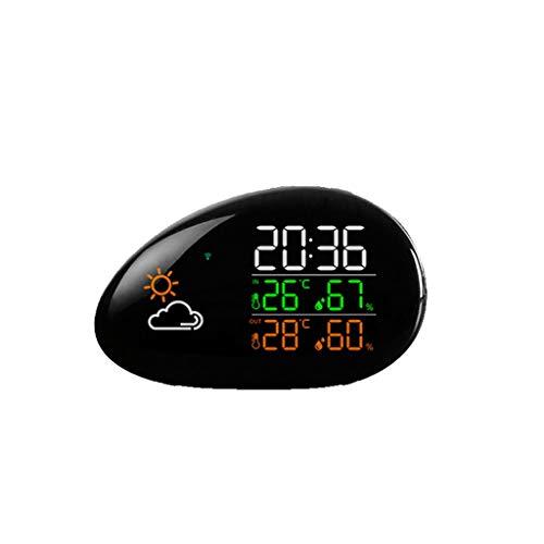 Queen Boutiques Wetterstationen Digitalen HD Display Weather Forecaster Innentemperaturen- Hygrometer Wecker Snooze-Funktion Wetterstation (Color : Black, Größe : 6.02 * 3.81in)