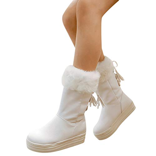 MYMYG Damen Stiefel Mode Winterstiefel Walkingschuhe Quaste Schnalle Kunstpelz Warme Pelz Gefüttert Stylische Schnalle Walkingschuhe Freizeitschuhe Lederschuhe
