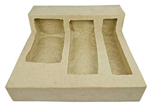 Veneer Stone Rubber Mold for Concrete or Plaster, Mountain Ledge 2-Step Corners, 12x12, Version 3, Recycled Material