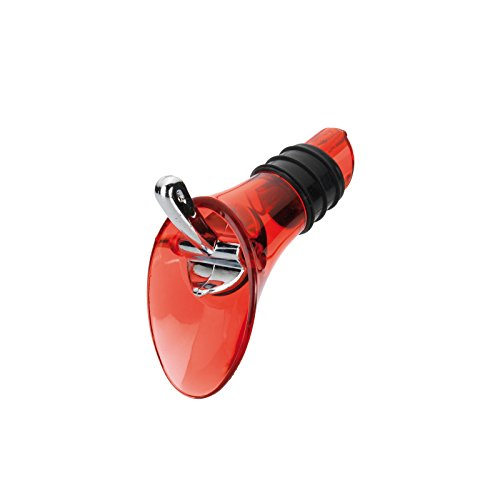 Westmark Dekantier-Ausgießer für Flaschen, Mit Verschlussklappe, Kunststoff/Rostfreier Edelstahl/Silikon, Rot-transparent/Silber, 44202280