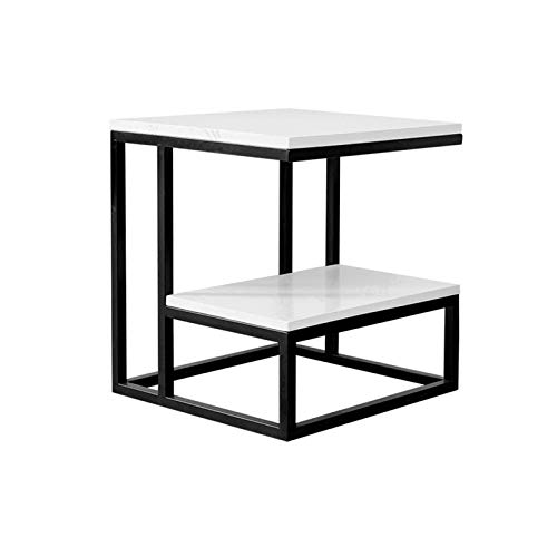 BZ-ZK Wooden Bedside Table, 45 * 45 * 50CM 2 Layer Square Storage Table Bedroom Living Room Sofa Table Thick Durable Coffee Table(Size:45 * 45 * 50CM,Color:Black)